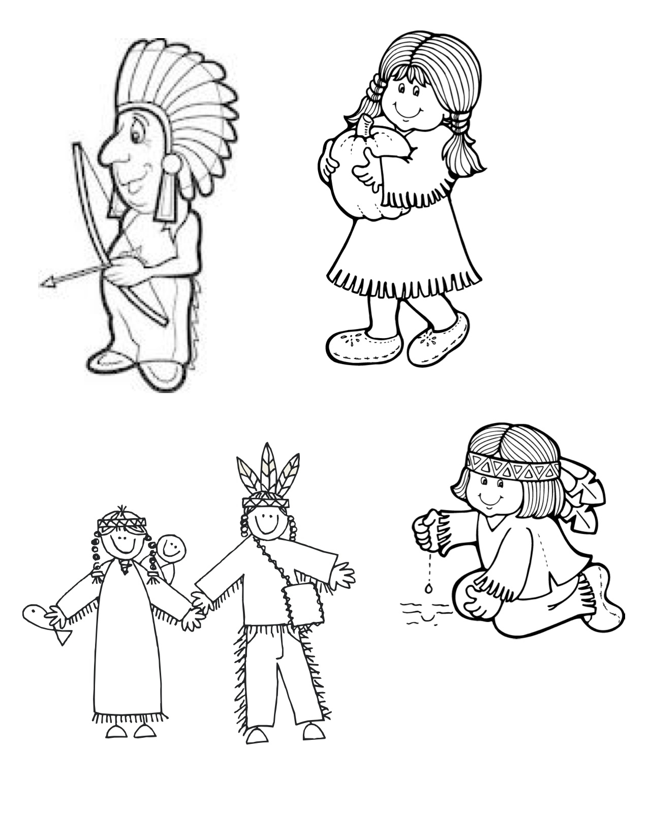 Thanksgiving Indian Clip Art Black And White Image
