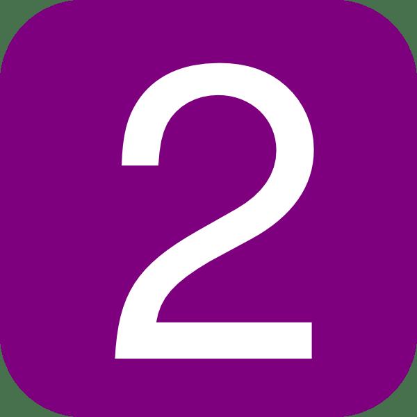 2 Number Cartoon Purple