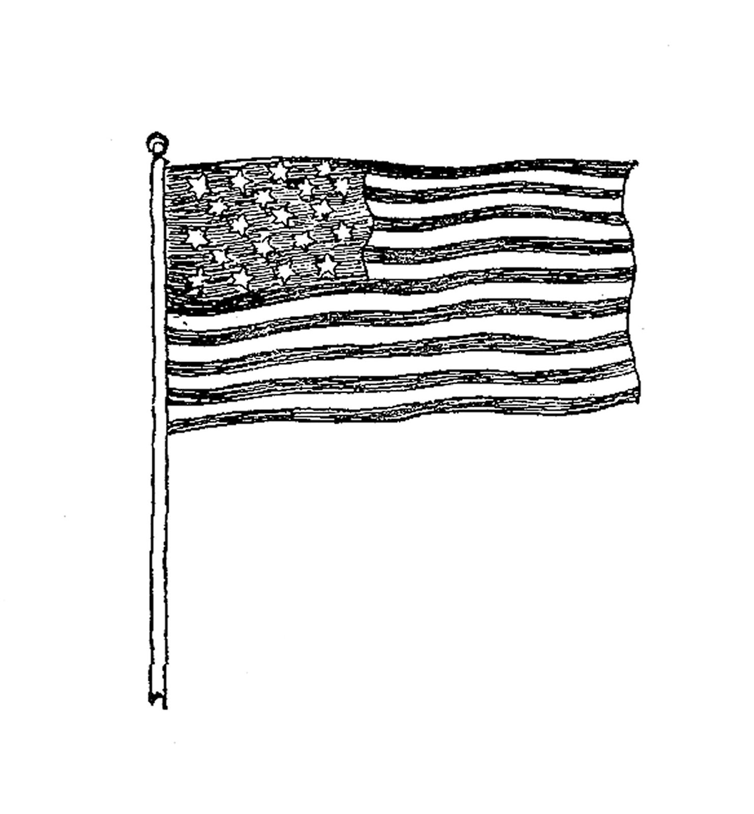 Free American Flag Clip Art Black And White Download Free