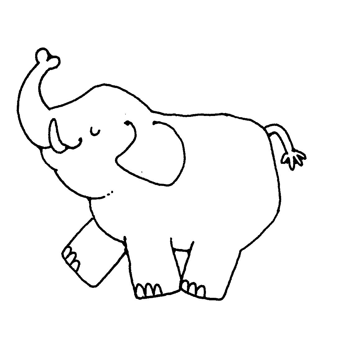 Elephant Cute Clipart Black And White
