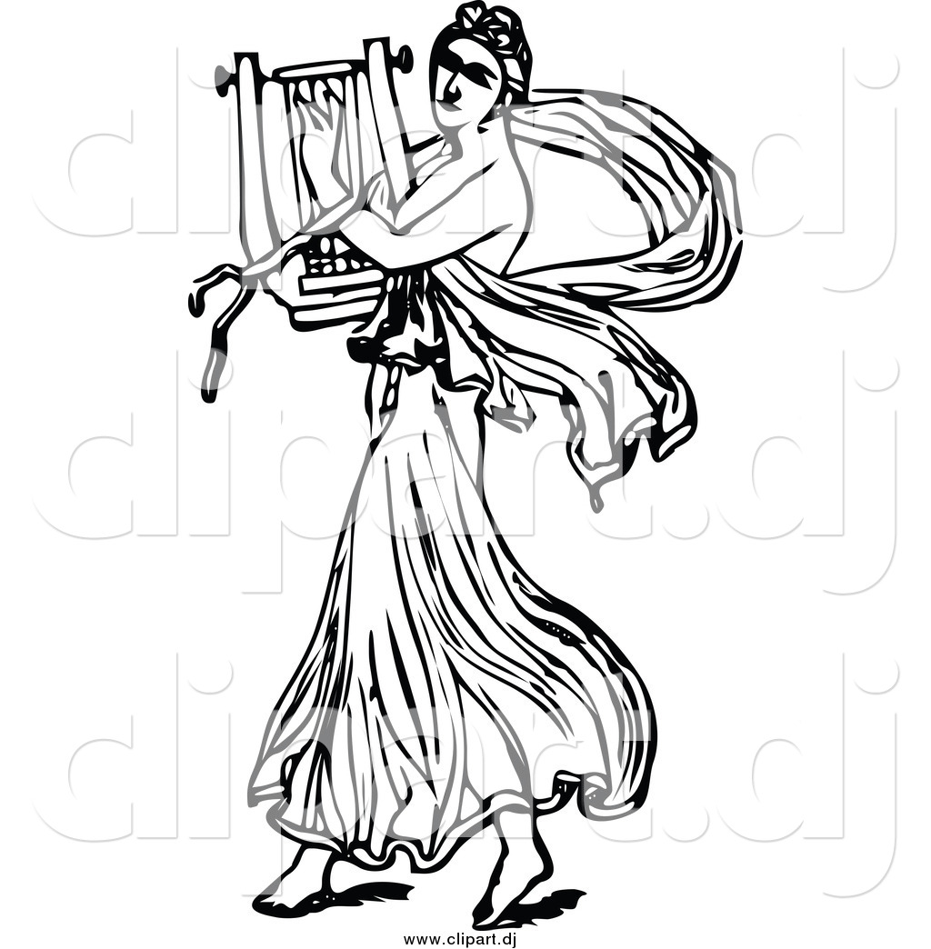 Vector Clipart Of A Black And White Ancient Musican