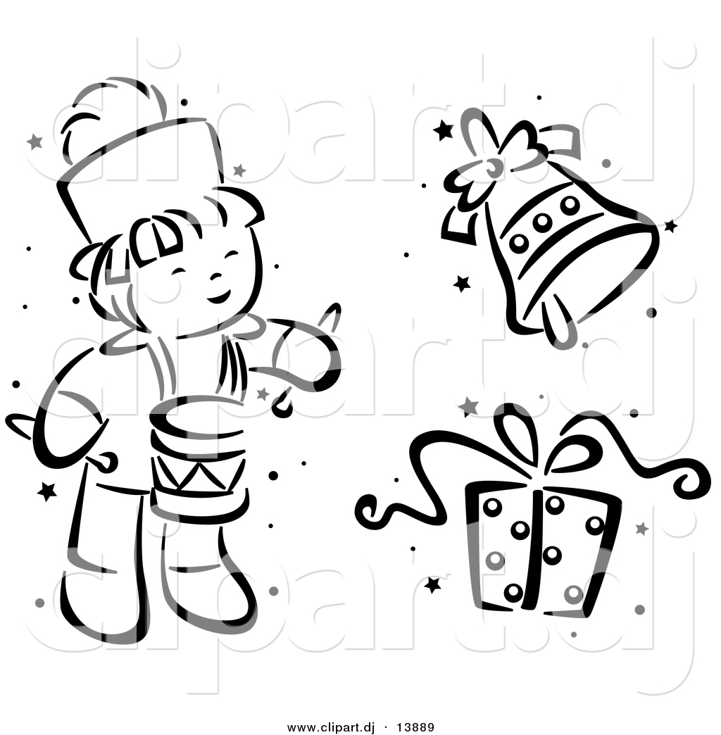 Vector Clipart Of A Cartoon Christmas Drummer Bell And