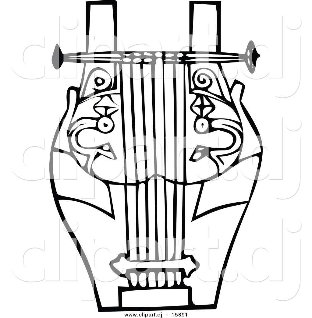 Vector Clipart Of A Lyre Instrument