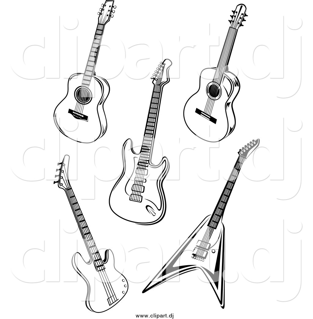 Vector Clipart Of Black And White Acoustic And Electric