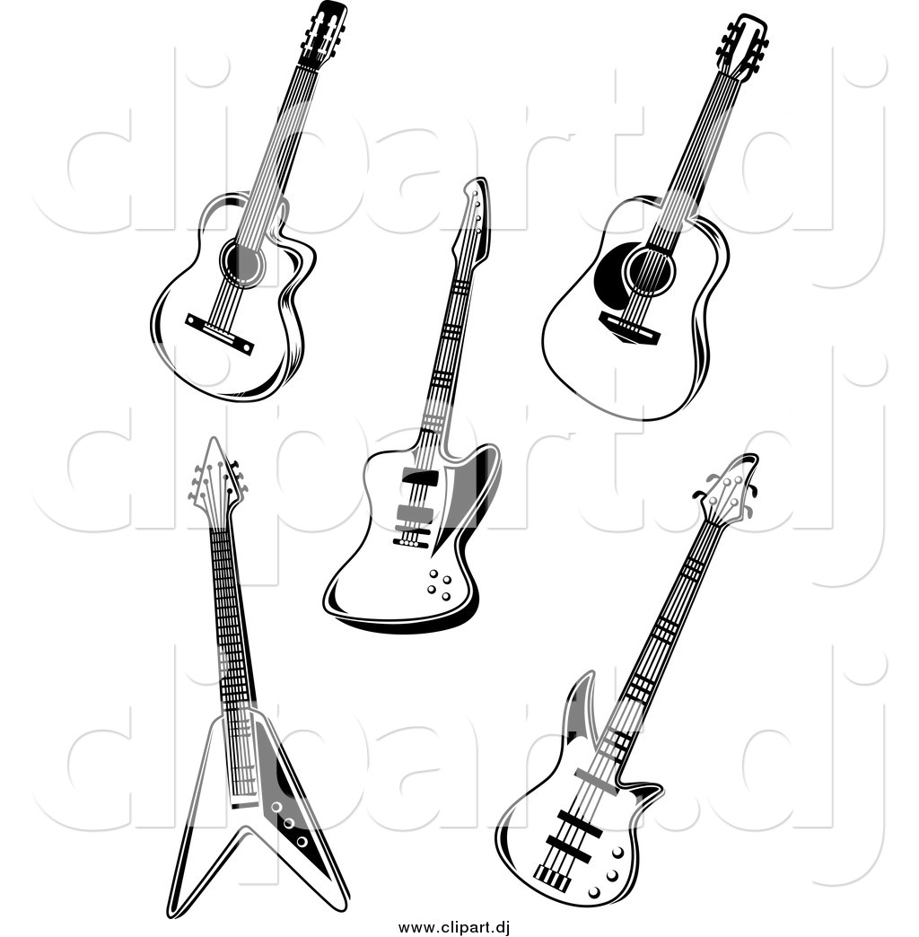 Vector Clipart Of Black And White Guitars By Vector