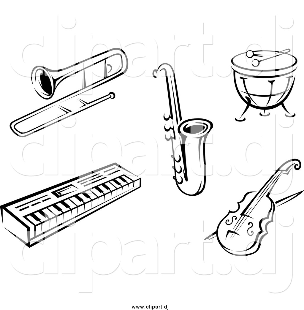 Vector Clipart Of Black And White Music Instruments By