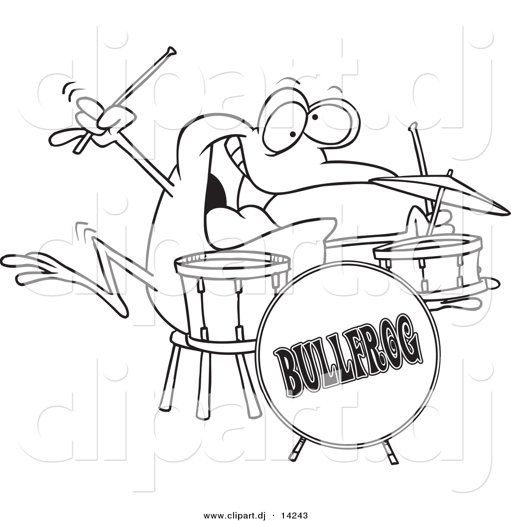 Vector Of Cartoon Drummer Frog