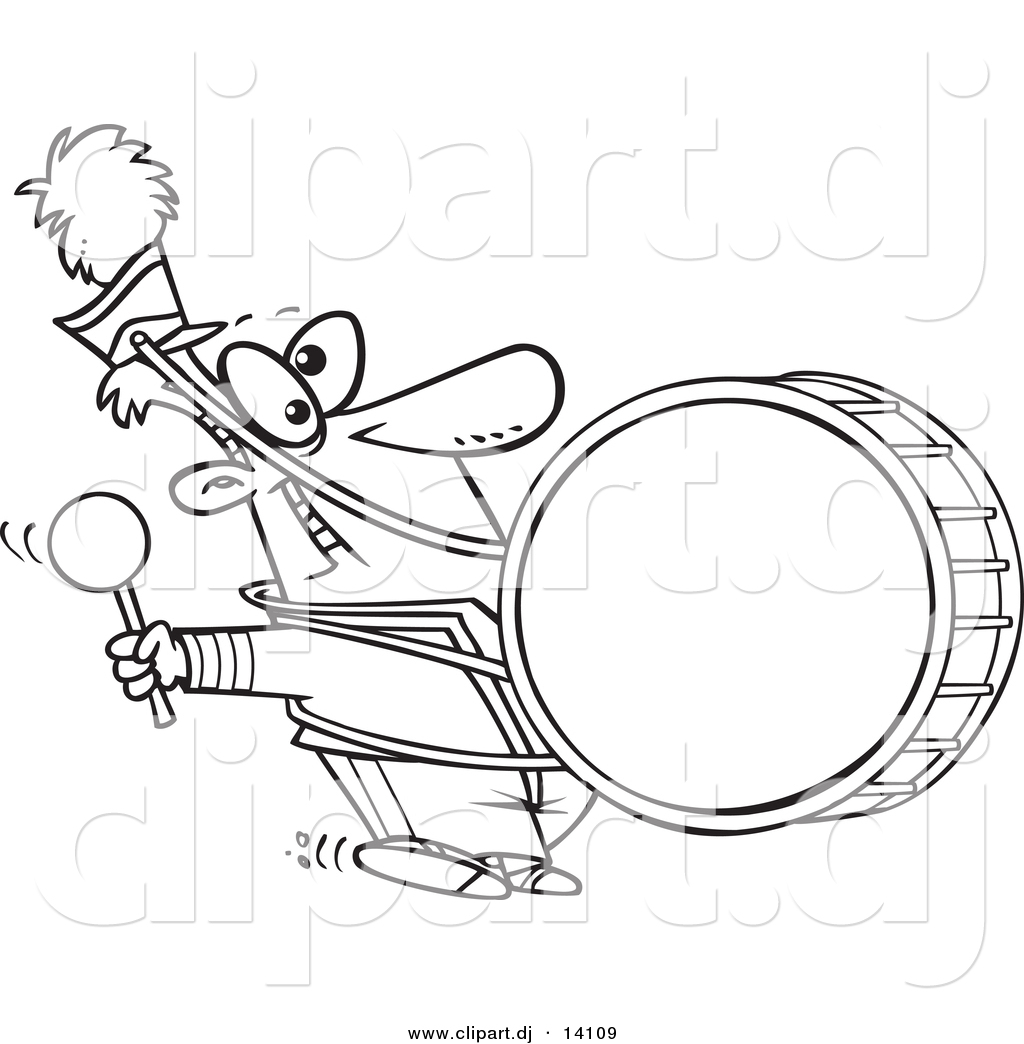 Vector Of Cartoon Marching Band Drummer