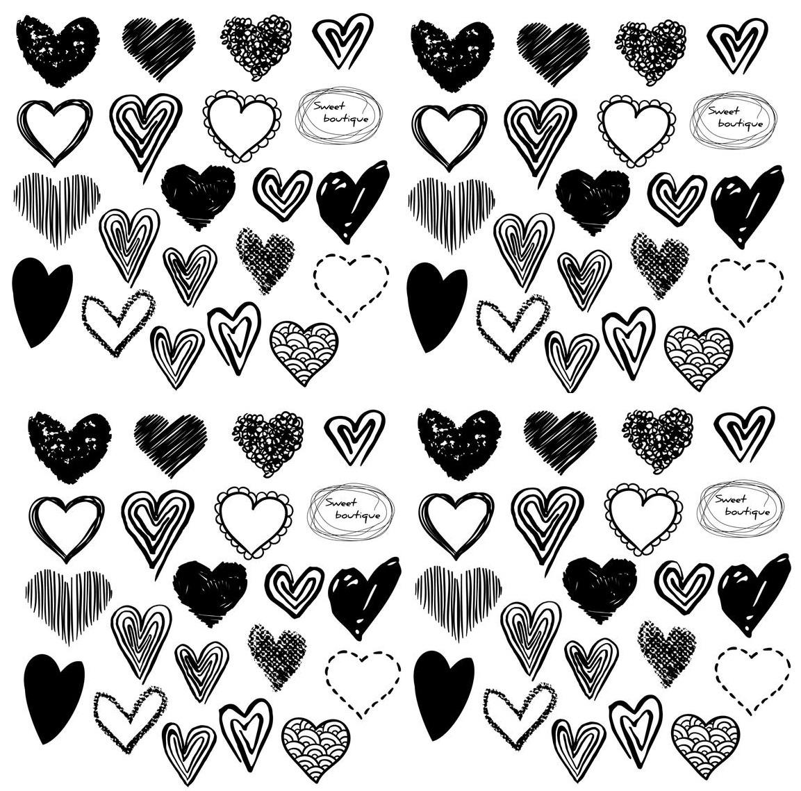 Small Hearts Cliparts Black And White