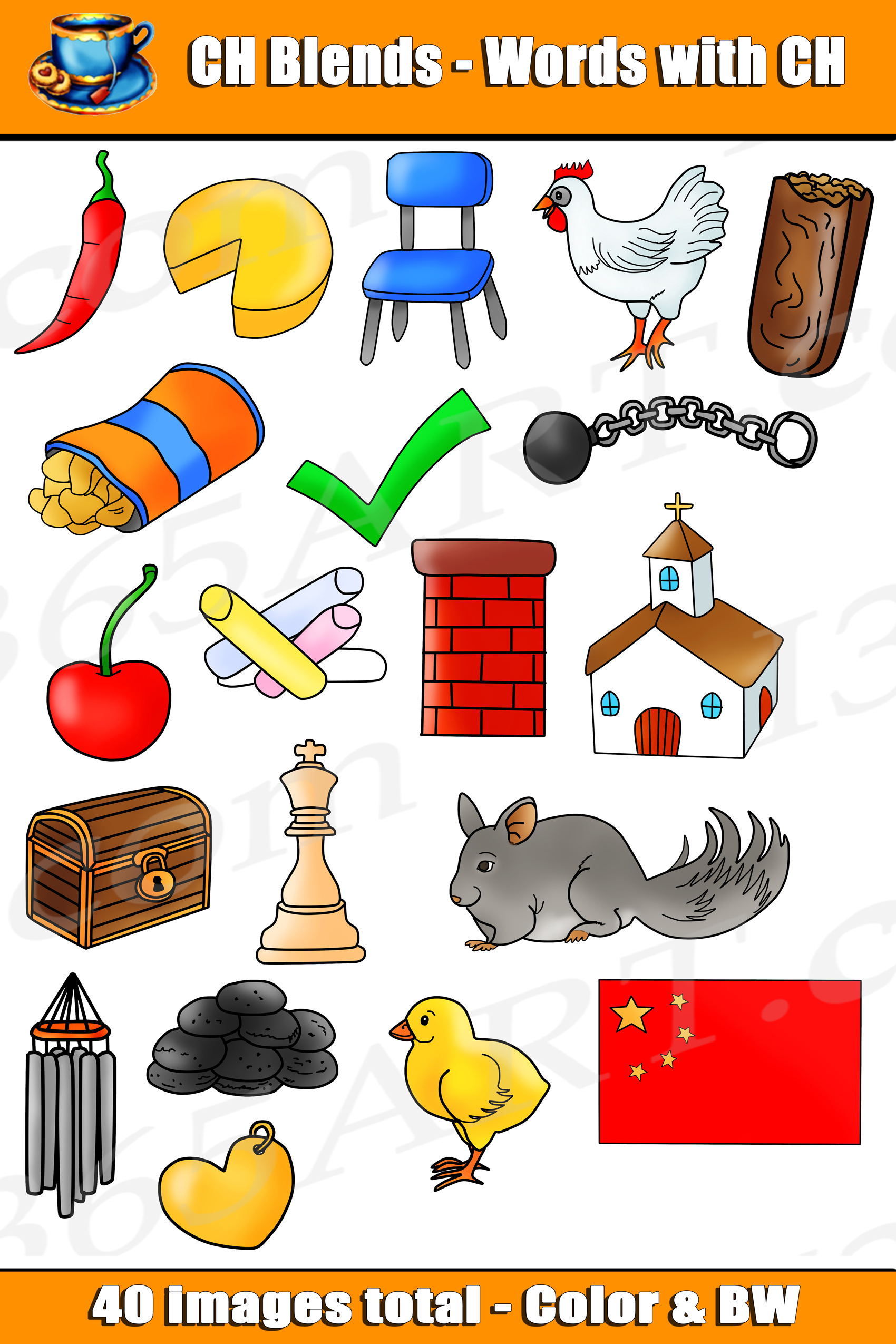 Ch Digraph Clipart Word Blends For Commercial Use