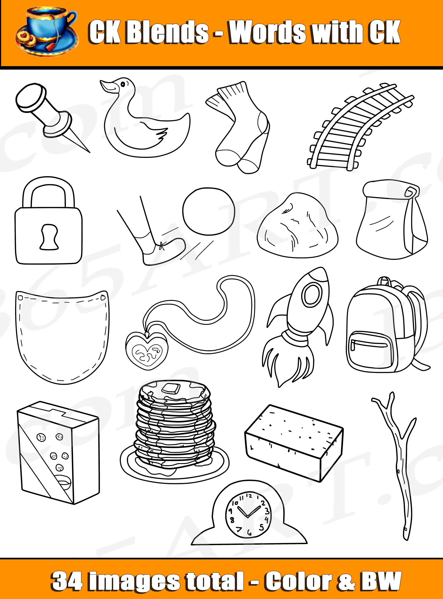 Digraph Clipart Ck Word Blends For Commercial Use
