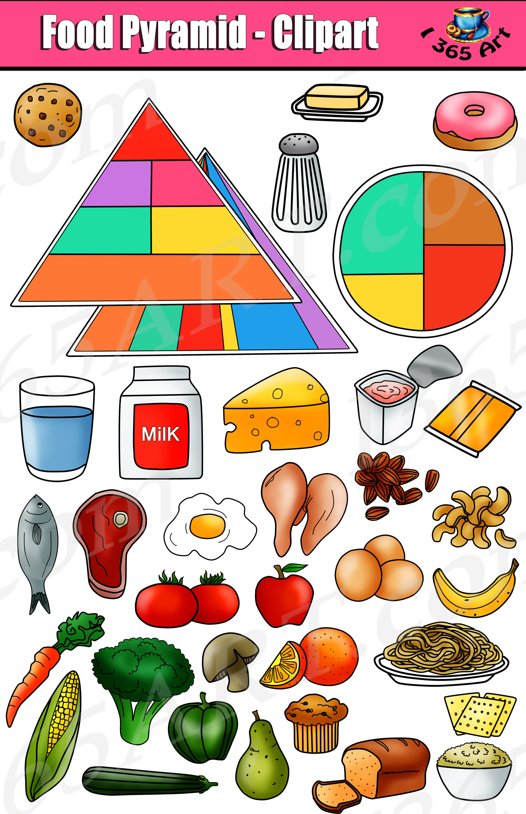 Food Pyramid Clipart Set