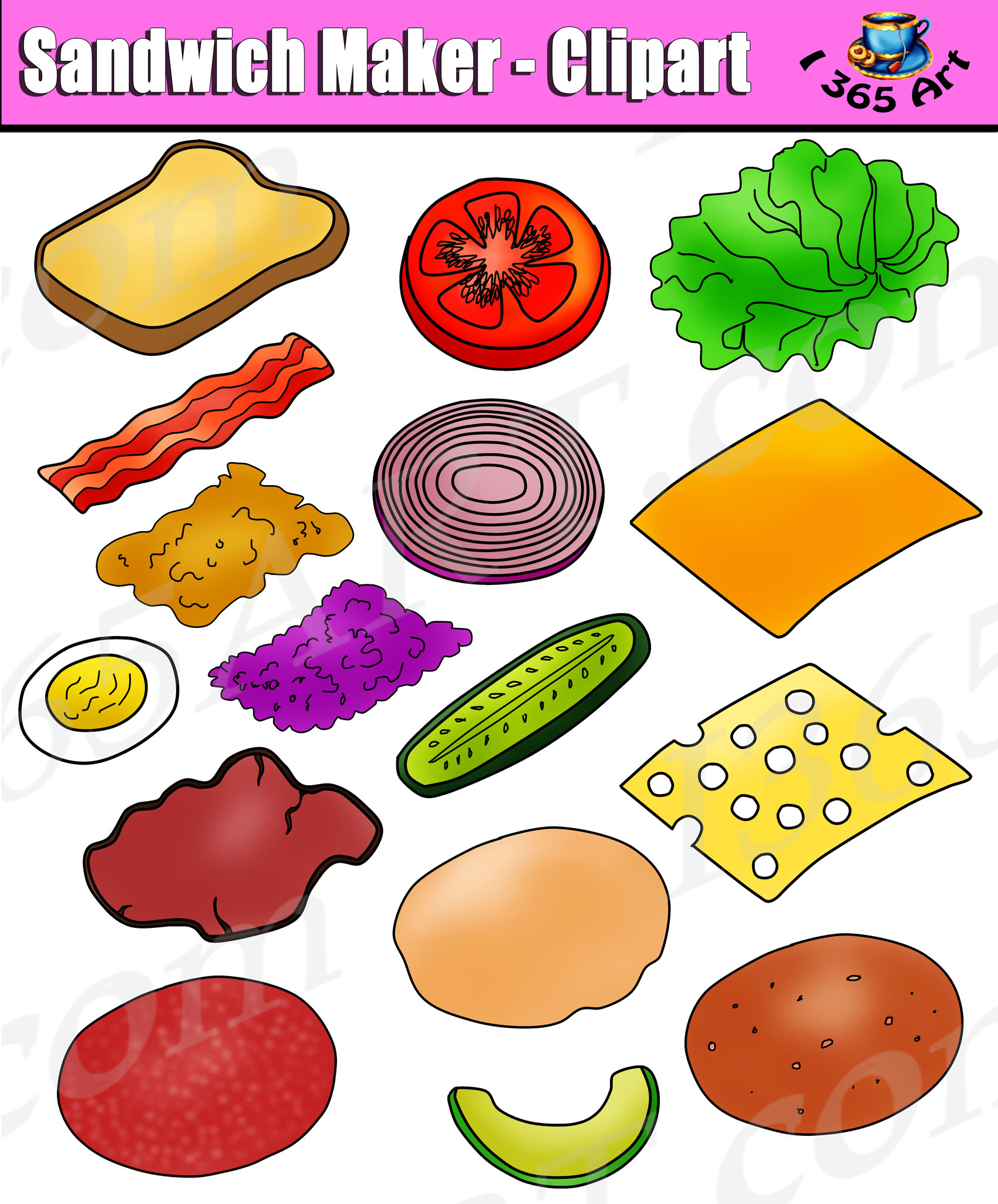 Build Sandwich Clipart Set
