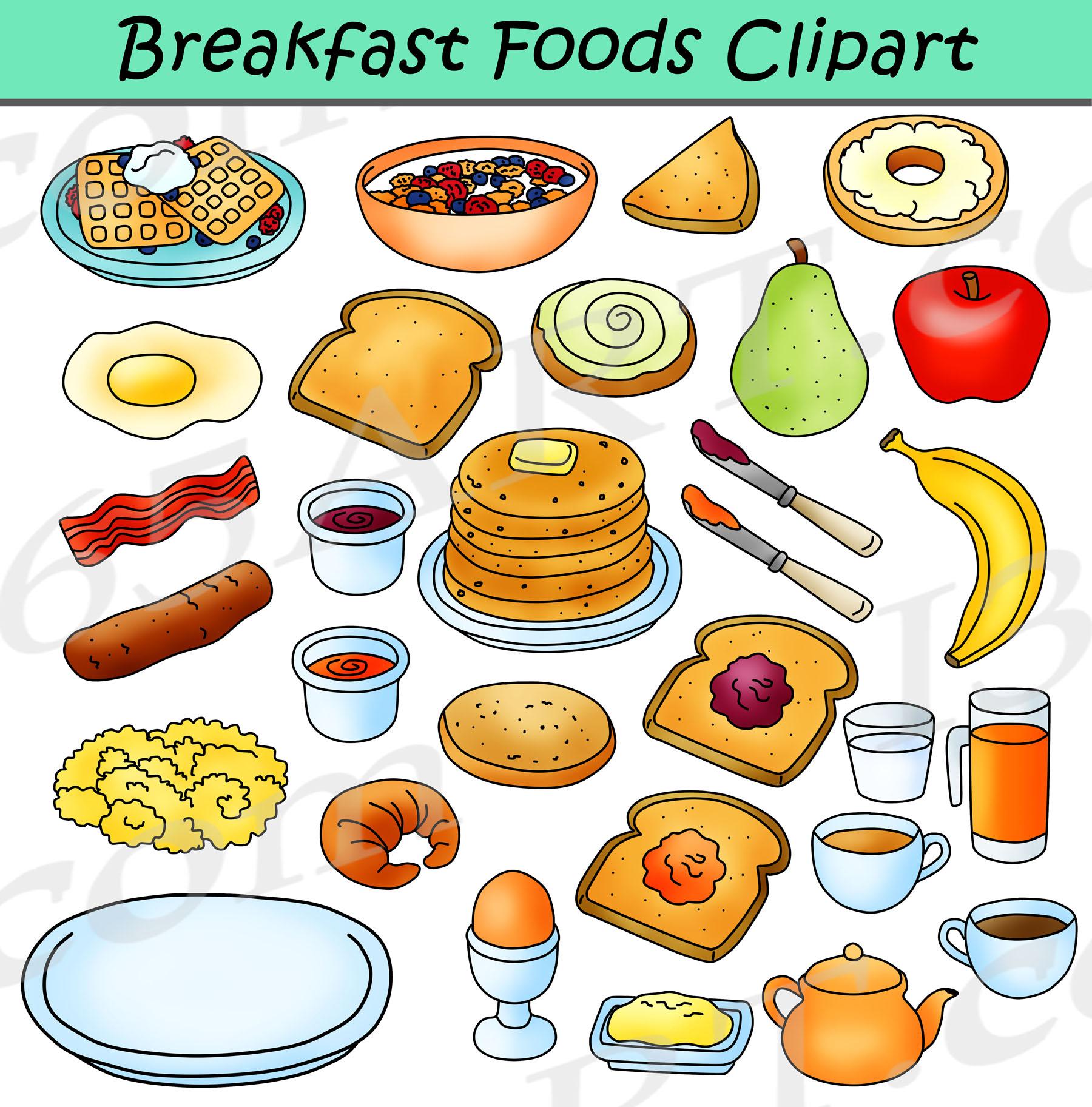 Breakfast Foods Clipart Bundle