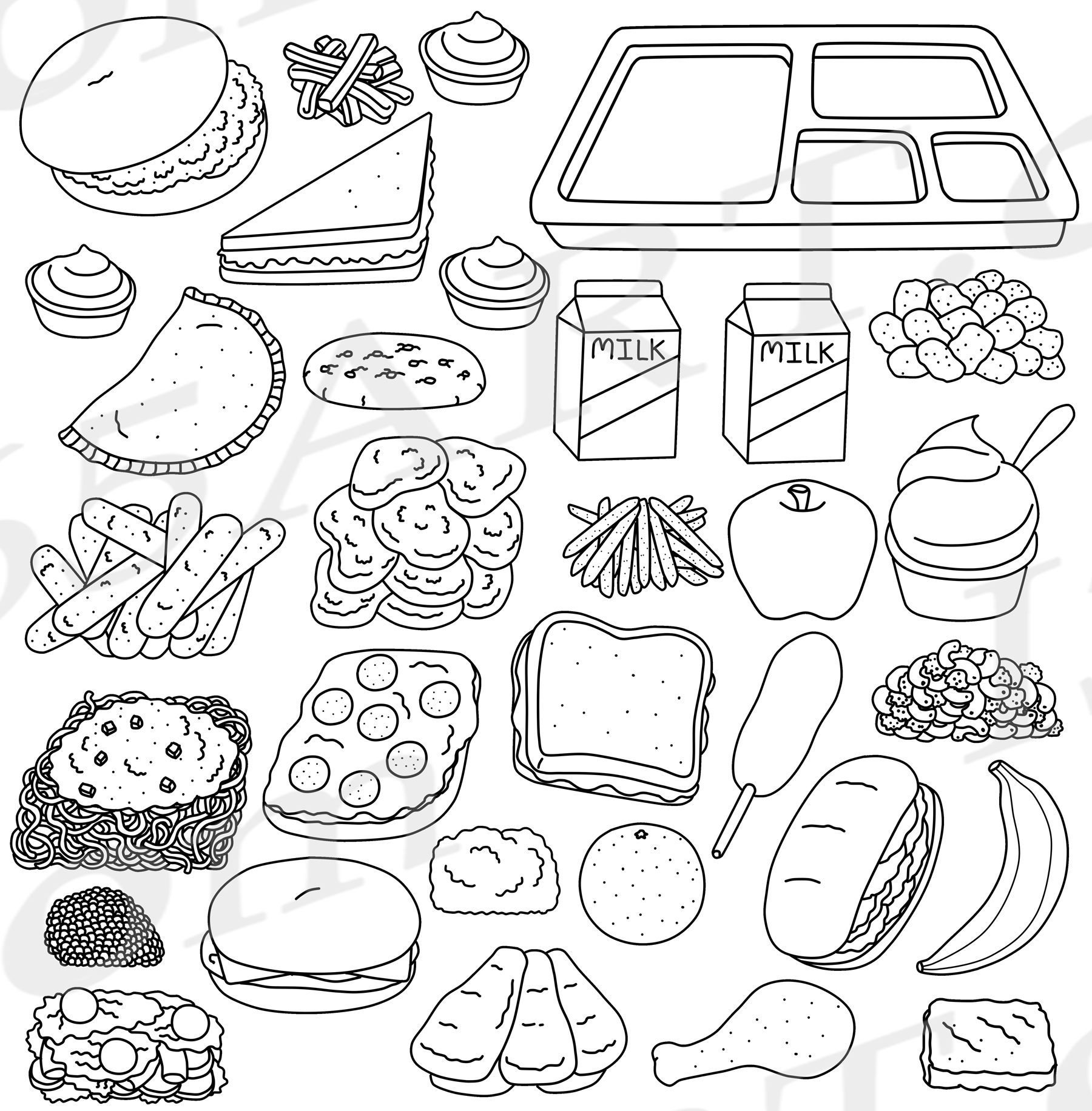 School Lunch Tray Coloring Page Pages Sketch Coloring Page