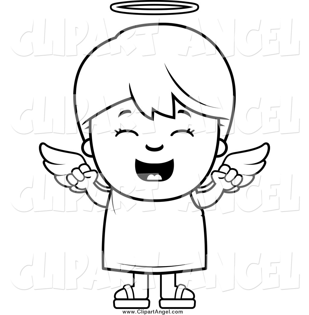 Illustration Vector Cartoon Of A Black And White Happy