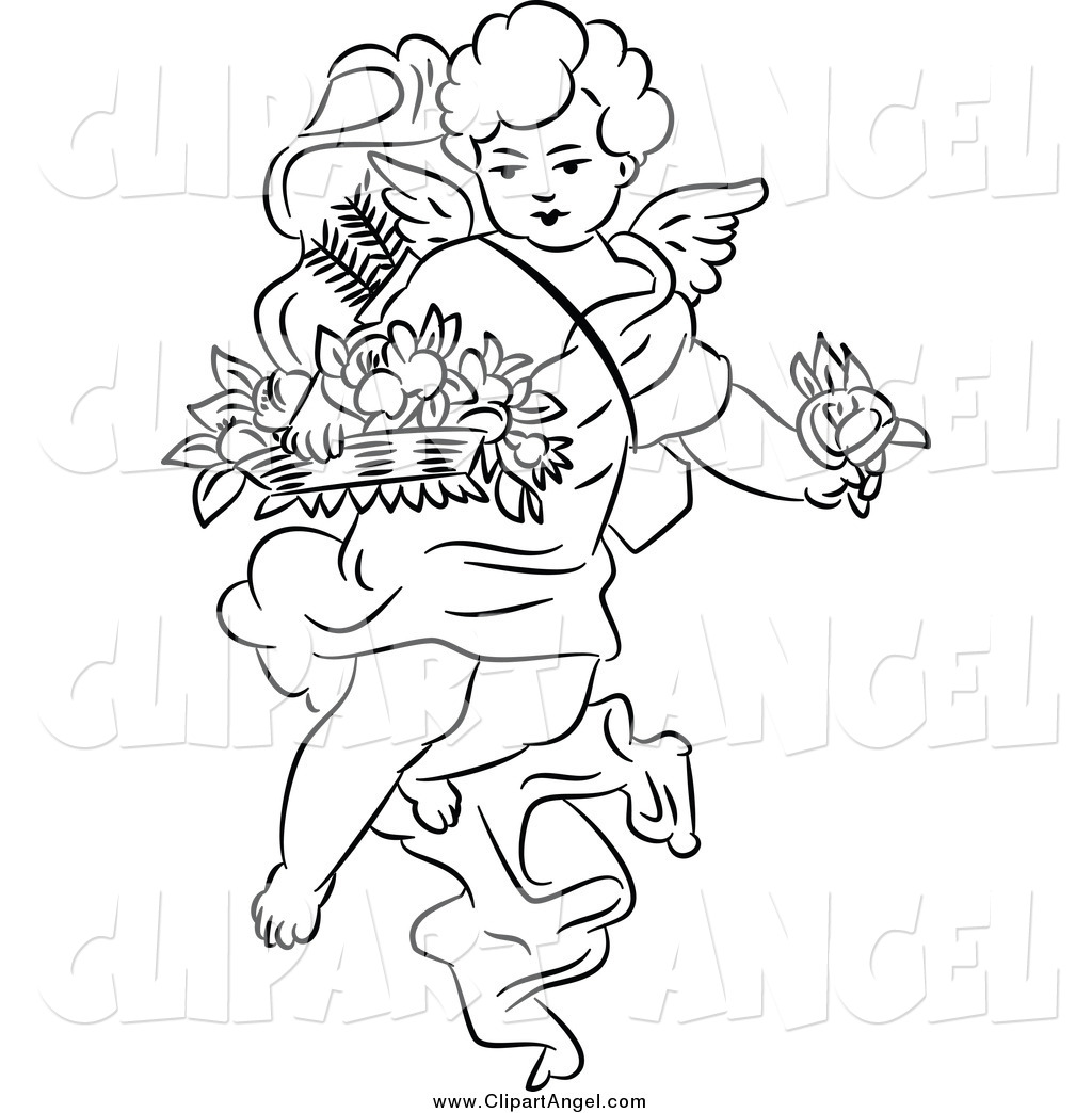 Illustration Vector Of A Black And White Angel Cherub With