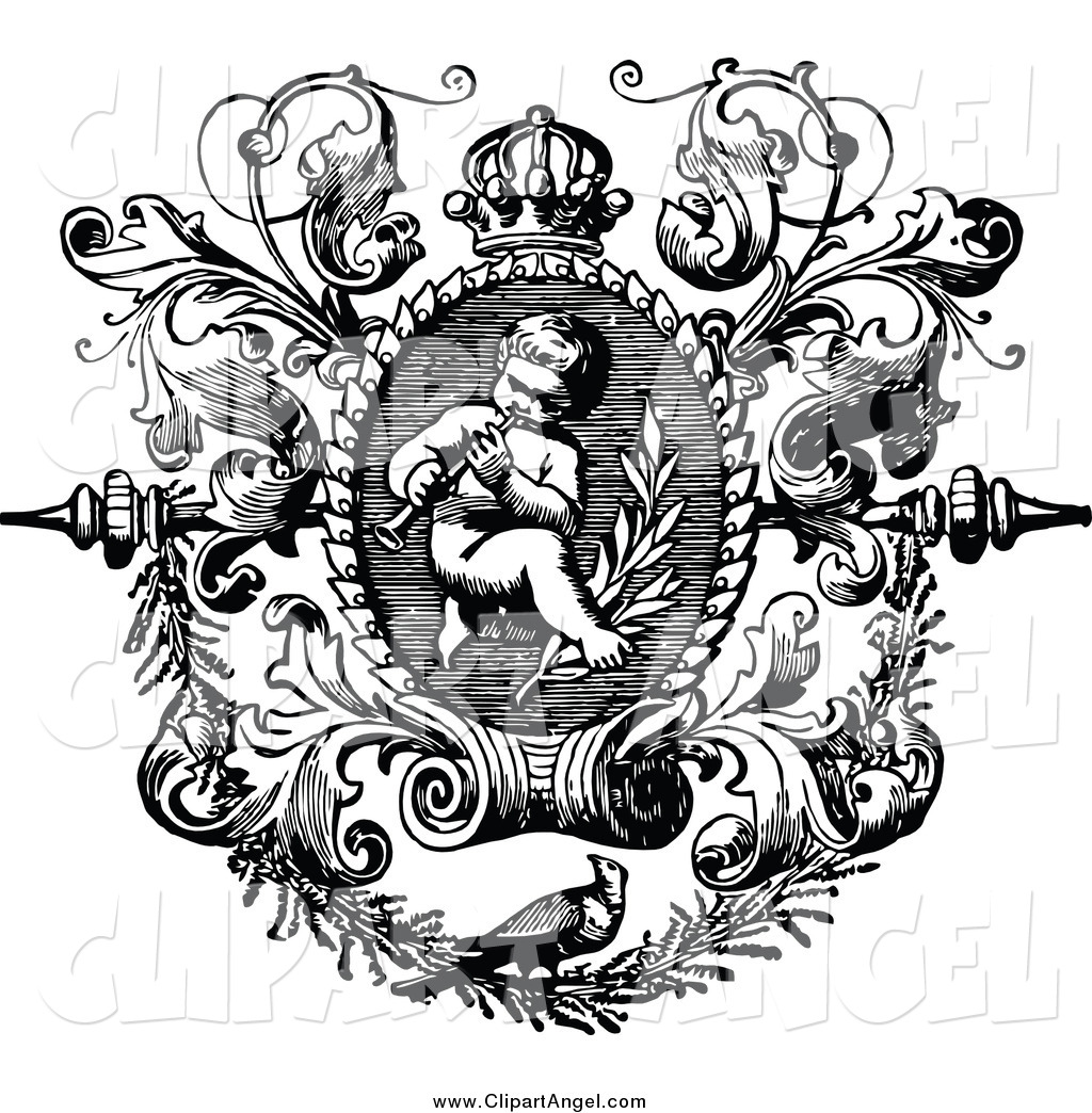 Illustration Vector Of A Black And White Angelic Cherub