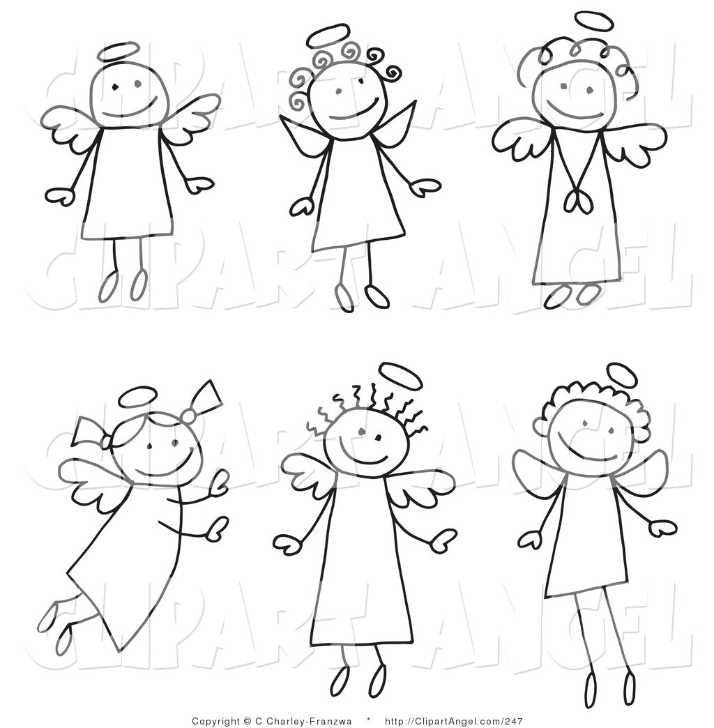 Royalty Free Black And White Stock Angel Designs
