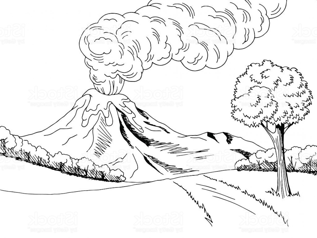 Library Of Anatomy Of A Volcano Black And White Clip Free