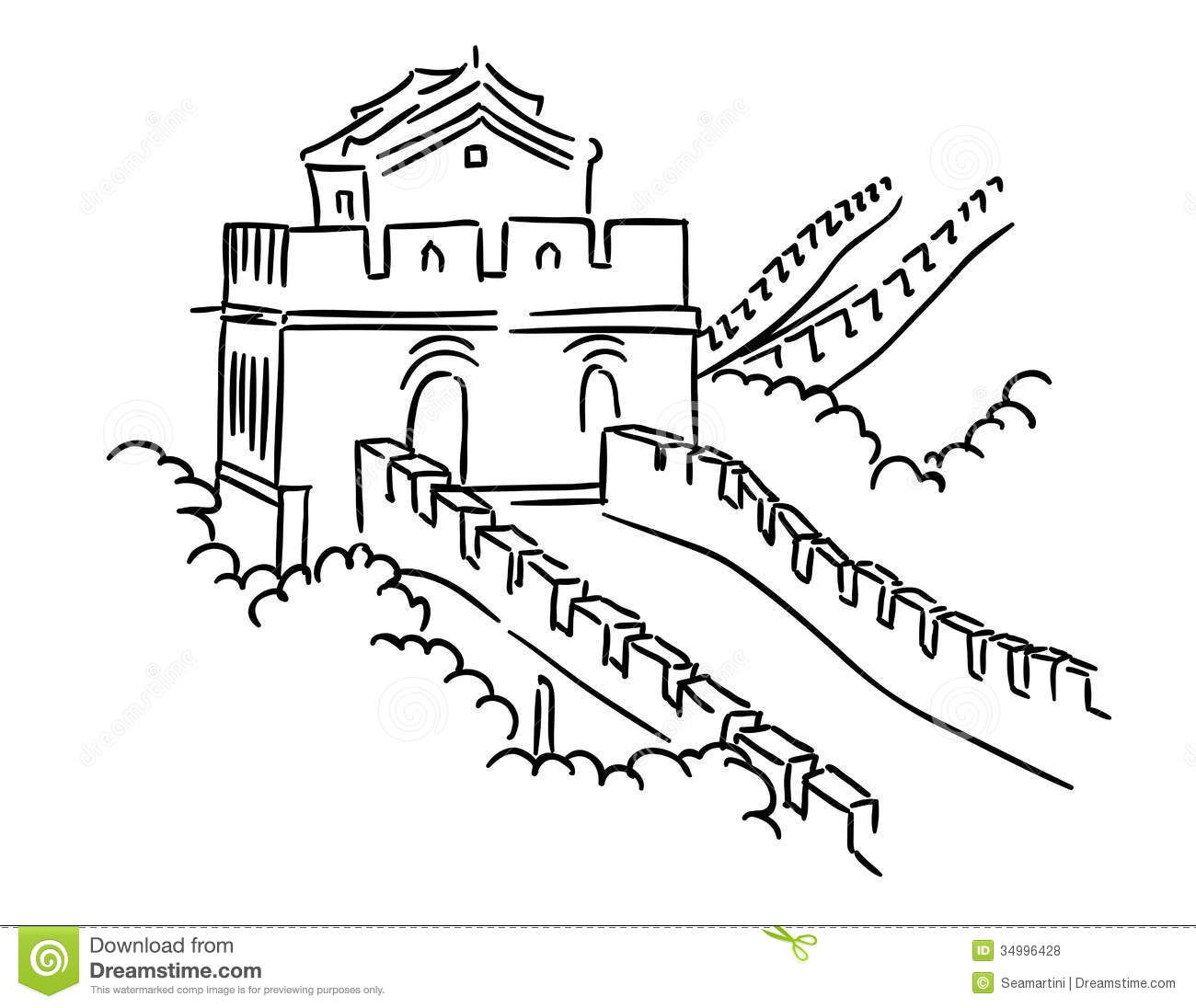 Library Of Great Wall Of China Image Download Black And