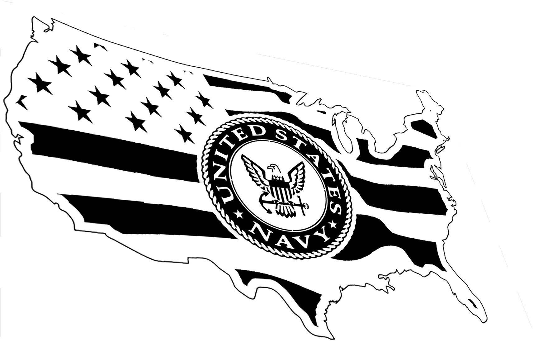 Library Of Us Navy Flag Black And White Vector Stock