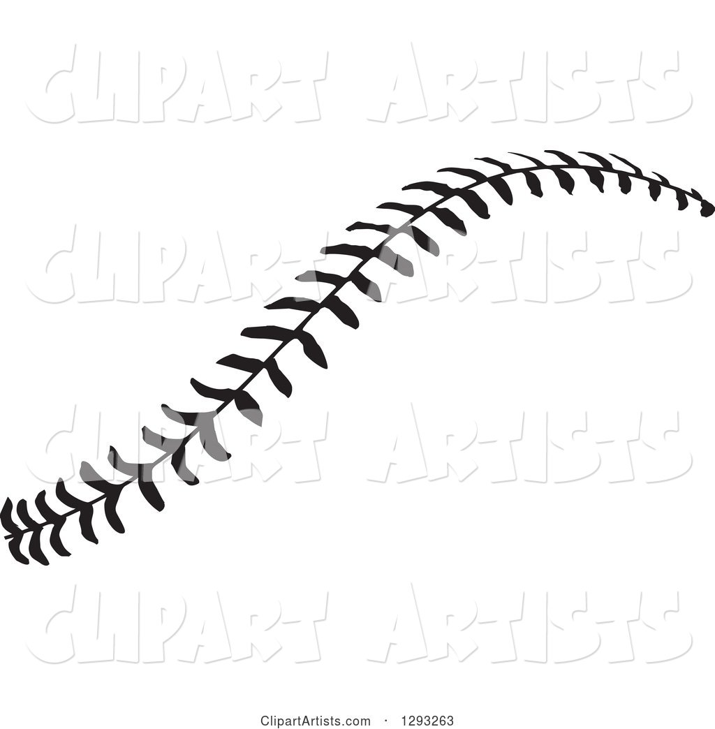 Horizontal Black And White Baseball Stitching Clipart By