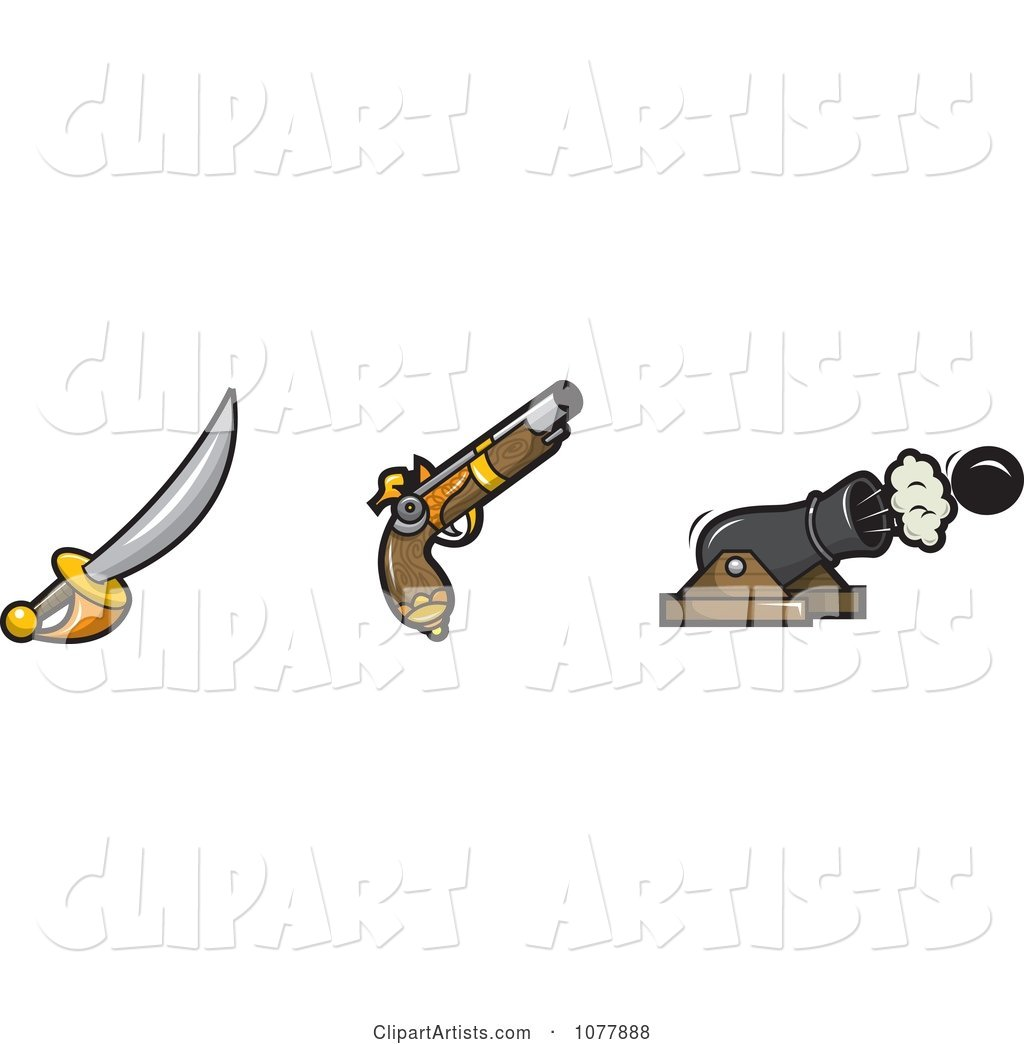 Pirate Sword Gun And Cannon Clipart By Jtoons