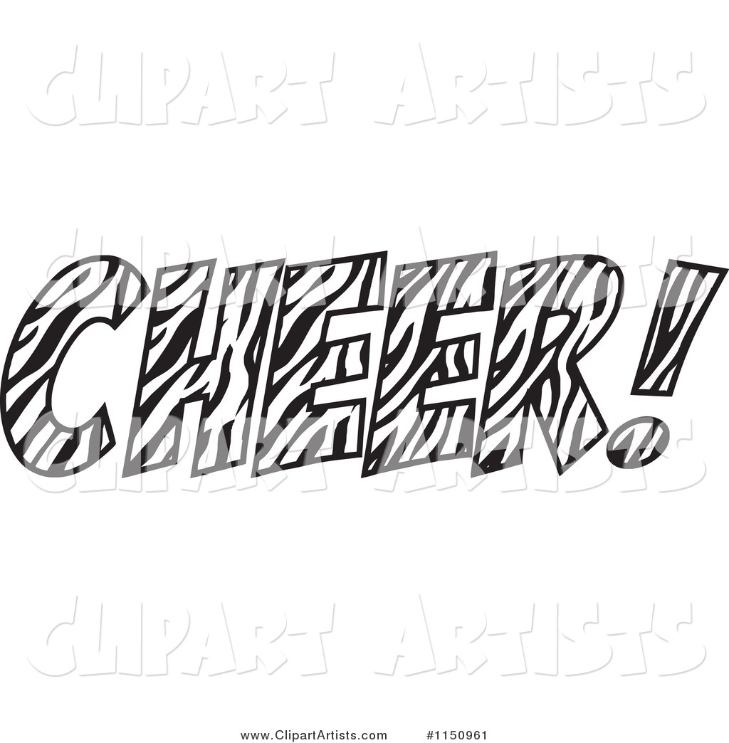 Zebra Print Cheer With An Exclamation Point Clipart By