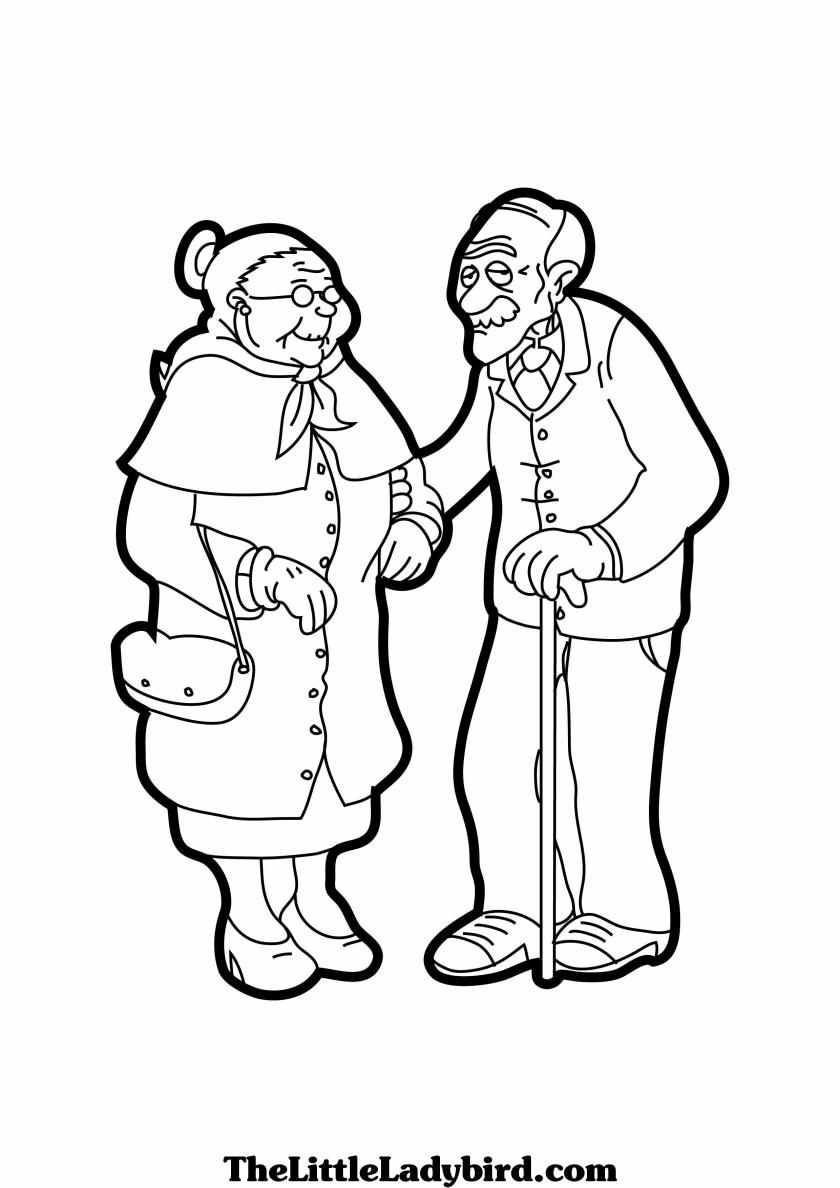 grandparents coloring page sketch coloring page