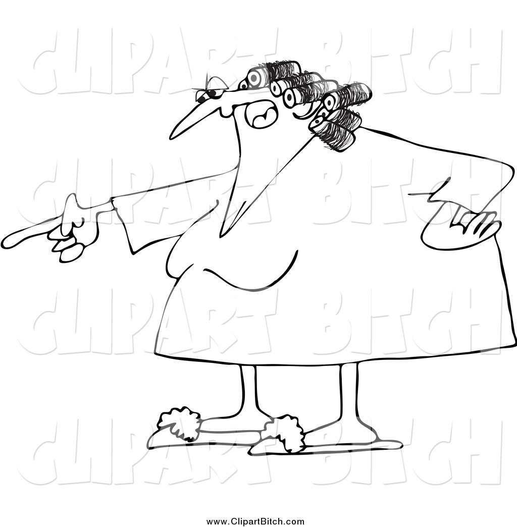 Clip Vector Cartoon Art Of A Black And White Angry Woman