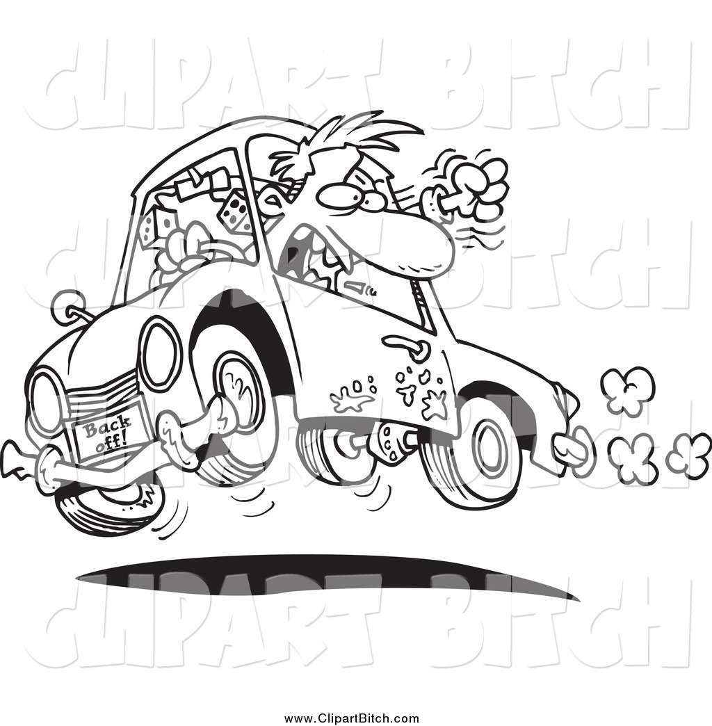 Clip Vector Cartoon Art Of A Black And White Male Driver