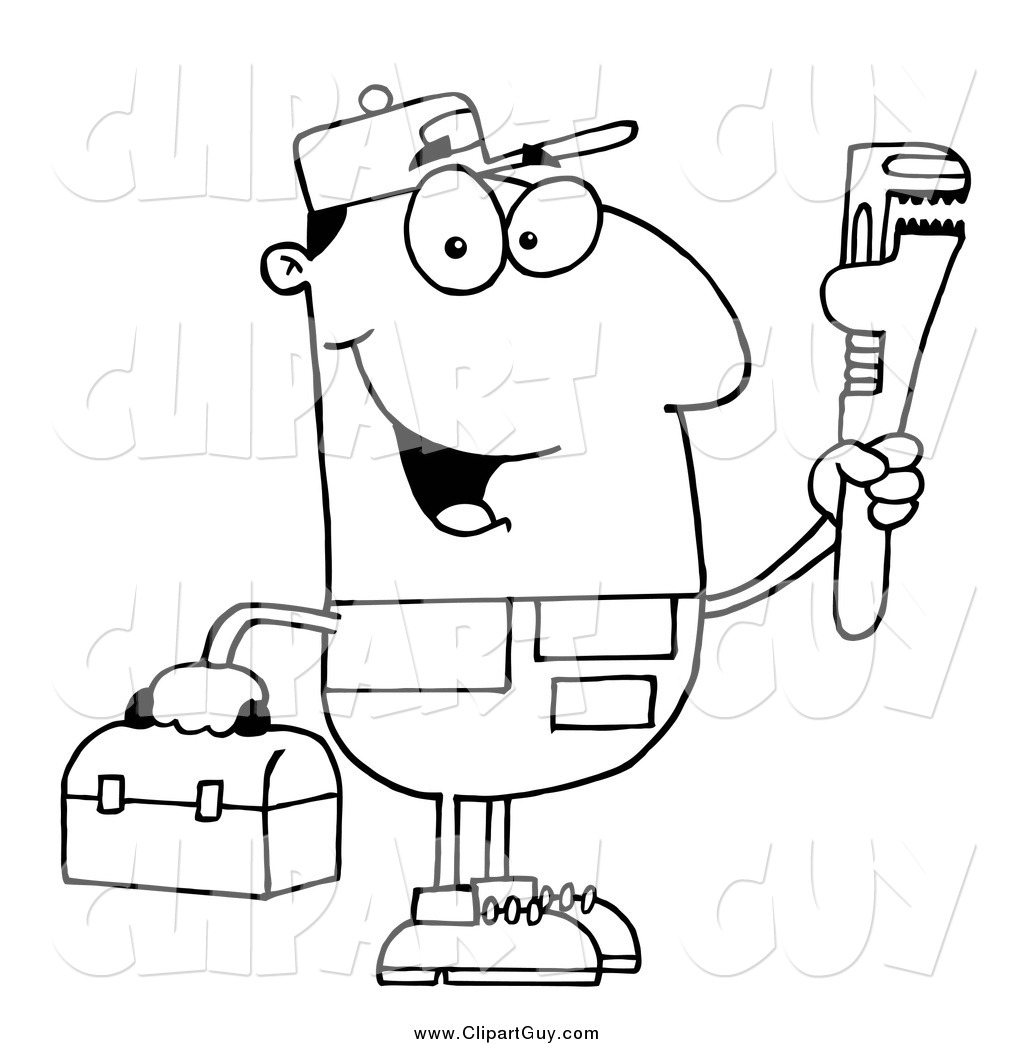 Clip Art Of A Black And White Happy Male Plumber Holding A