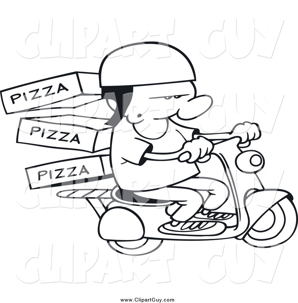 Clip Art Of A Black And White Pizza Delivery Boy On A