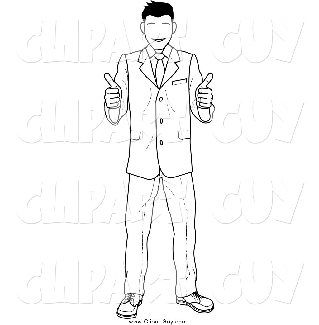 Clip Art Of A Black And White Satisified Customer Or Boss