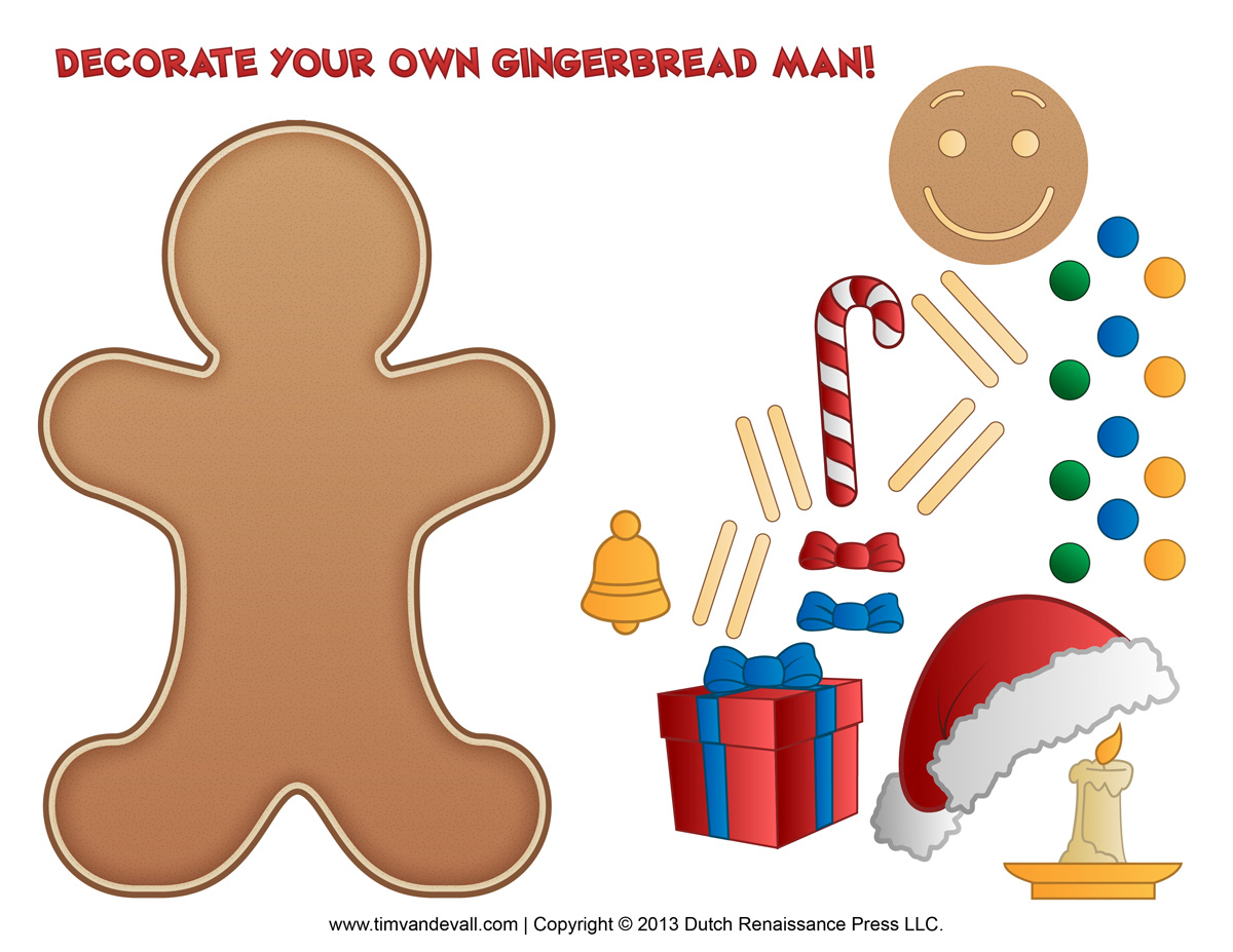 Gingerbread Man Template Clipart