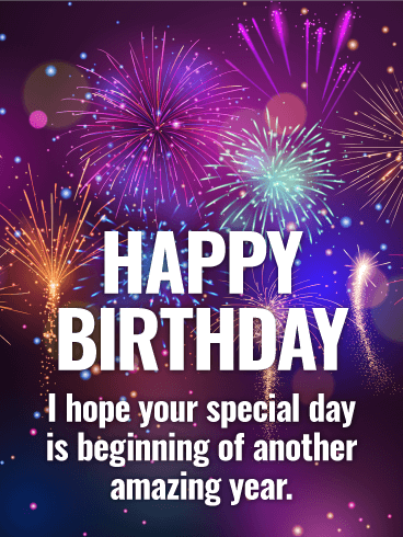 Purple Fireworks Happy Birthday Card Png Cliparting Com
