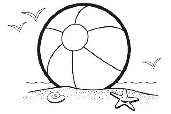 beach ball beach scene clip art coloring pages coloring panda