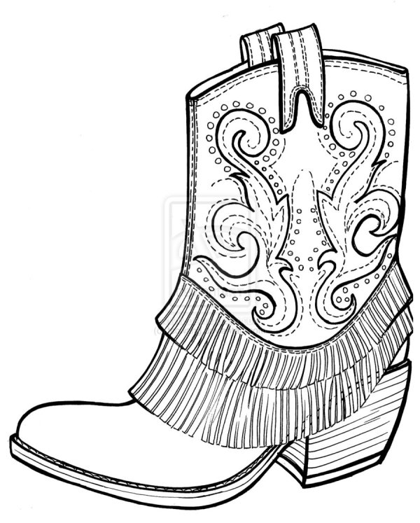 cowboy boots coloring pages # 6