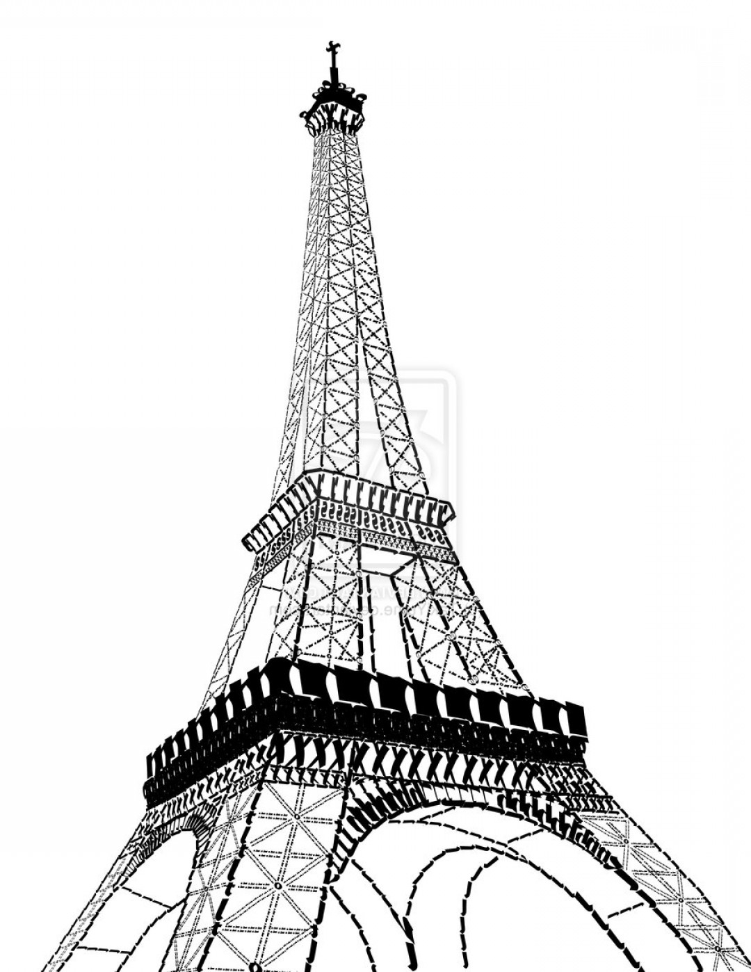 Eiffel Tower Black And White Drawing