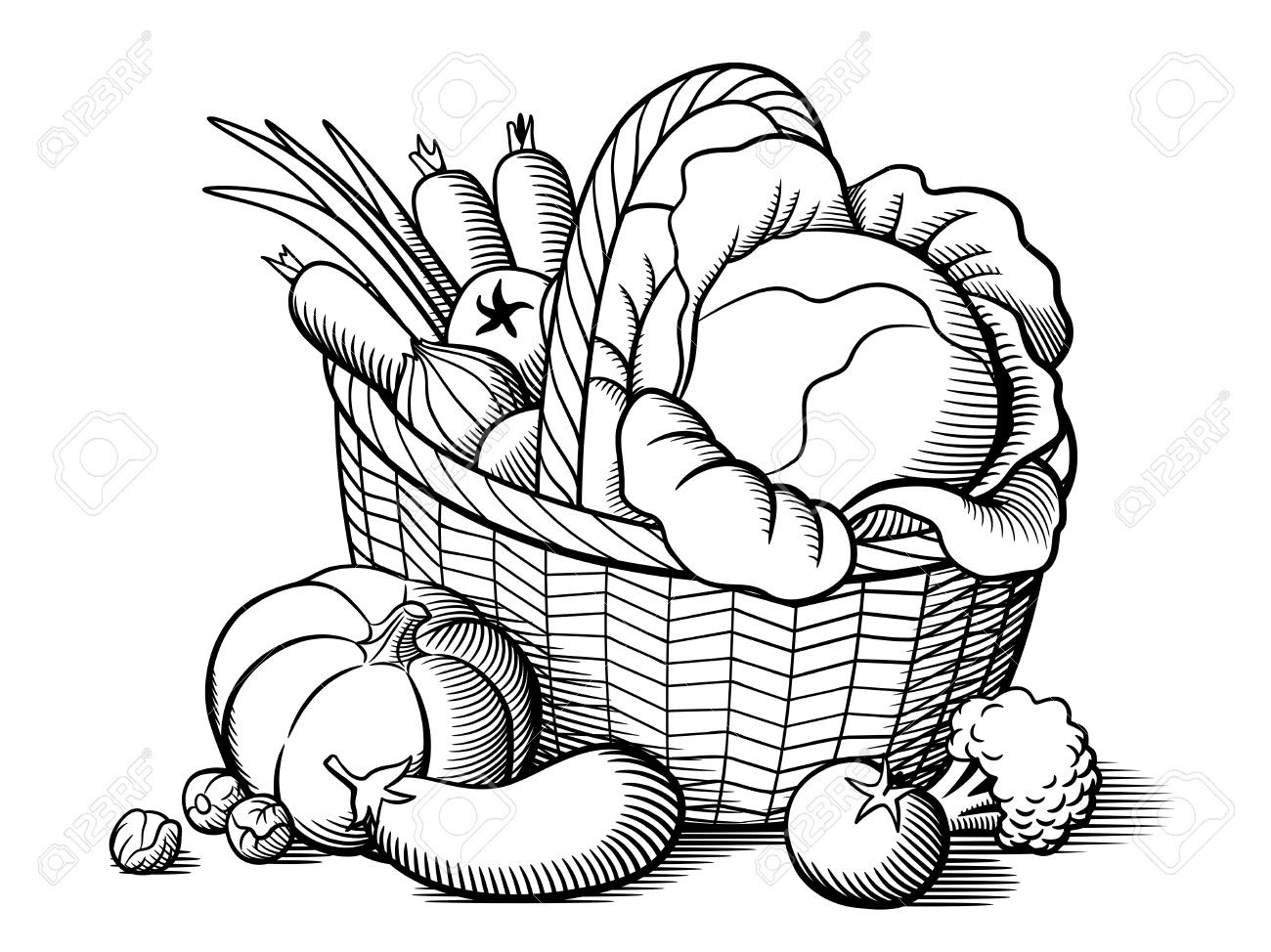 Fruits And Vegetables Drawing Black And White