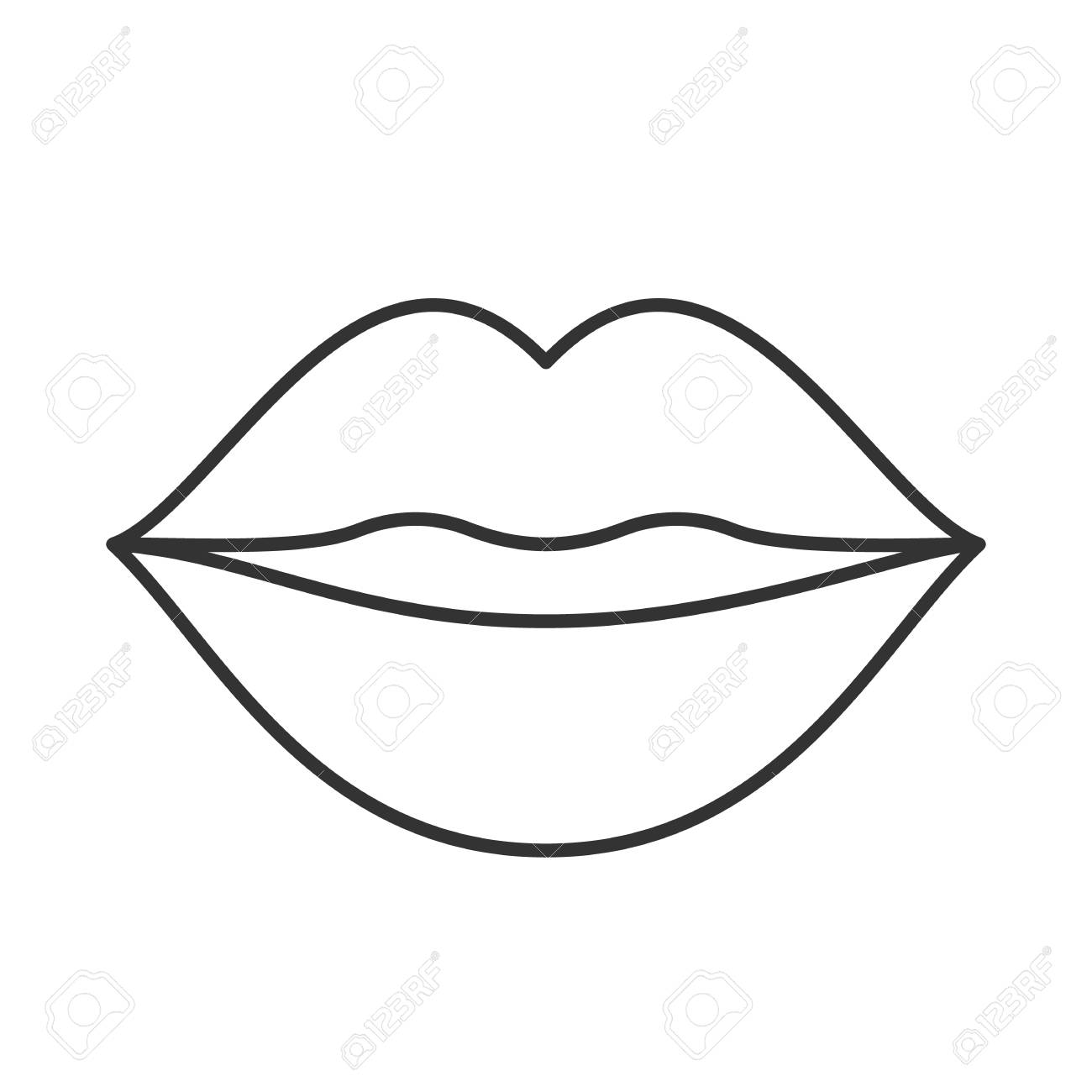 Lips Outline Drawing