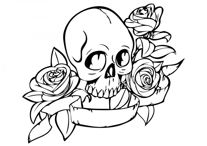 skull and rose drawing  free download on clipartmag