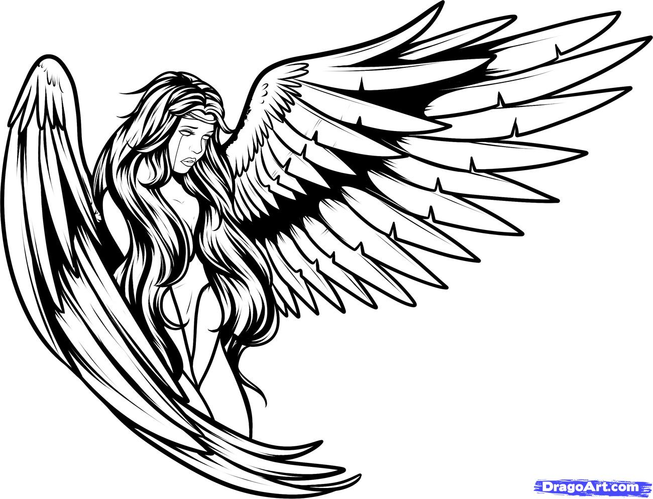 Angel Outline Drawing