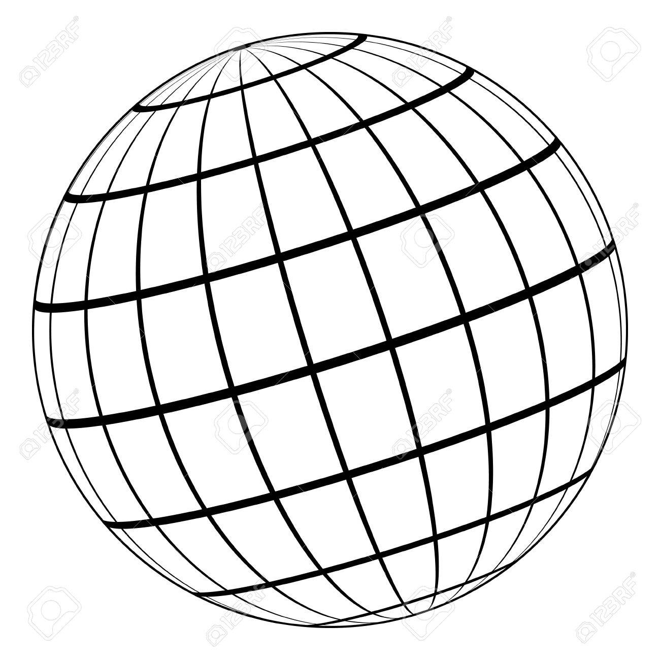 Black And White Globe Outline