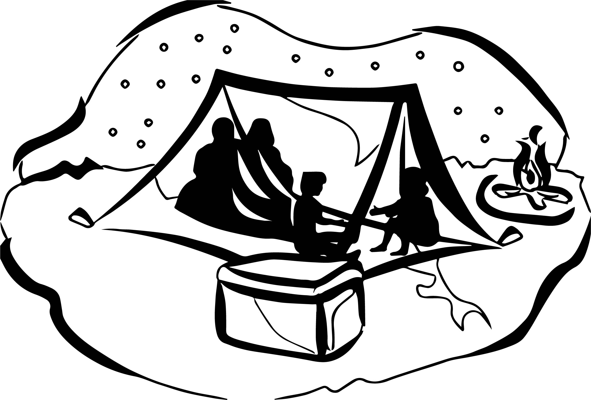 Camping Clipart Black And White