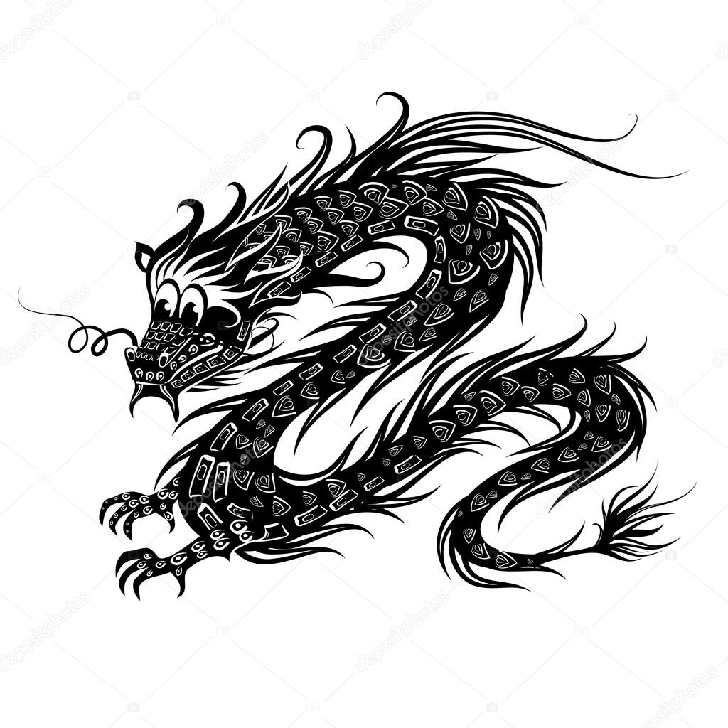 Chinese Dragon Images Black And White