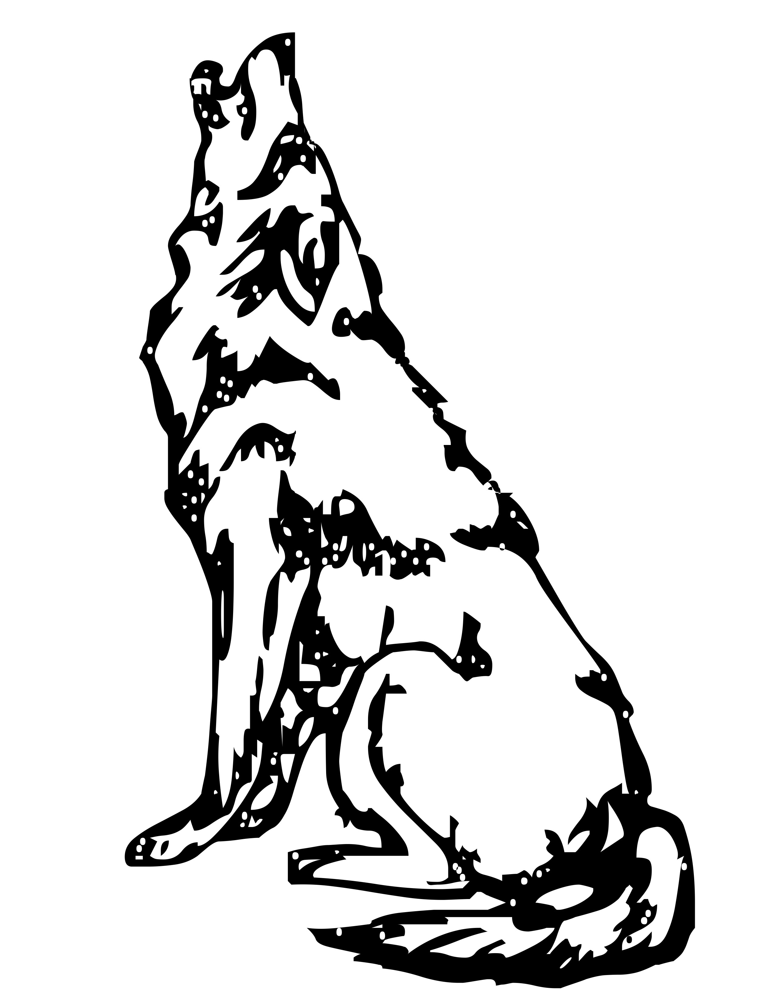 Coyote Clipart Black And White
