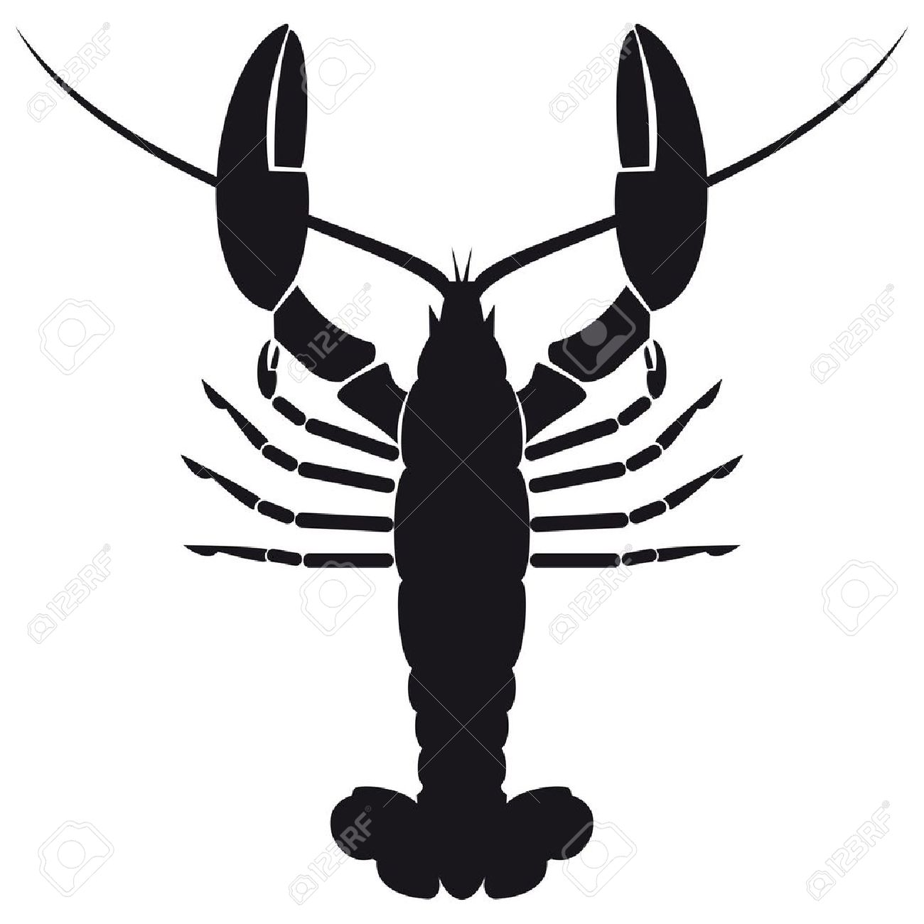 Crawfish Silhouette Cliparts