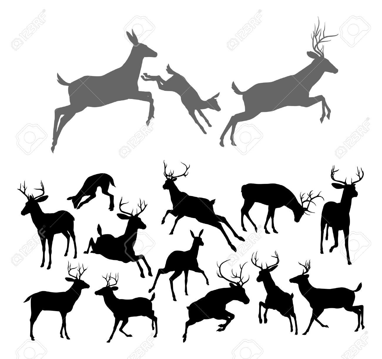Deer Family Silhouette